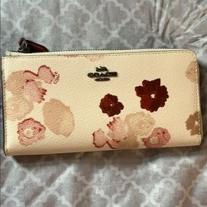 Coach White Leather Floral Wallet